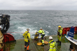Operators deploying a Seaglider in the Norwegian Sea